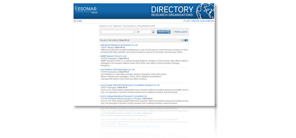Research agencies in ESOMAR directory